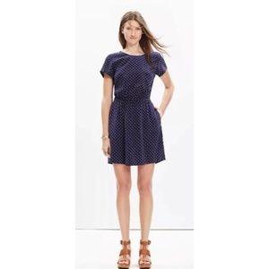 Madewell 100% Silk Navy Polka Dot Star Dress 2